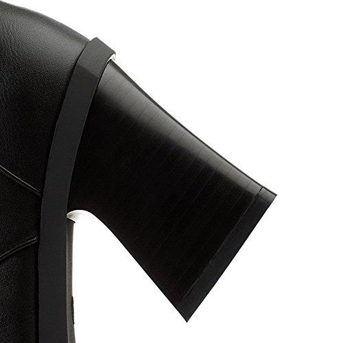 AllhqFashion Mujer Puntera Redonda Tacón Alto Sintético Sólido Botas Negro-Joyas