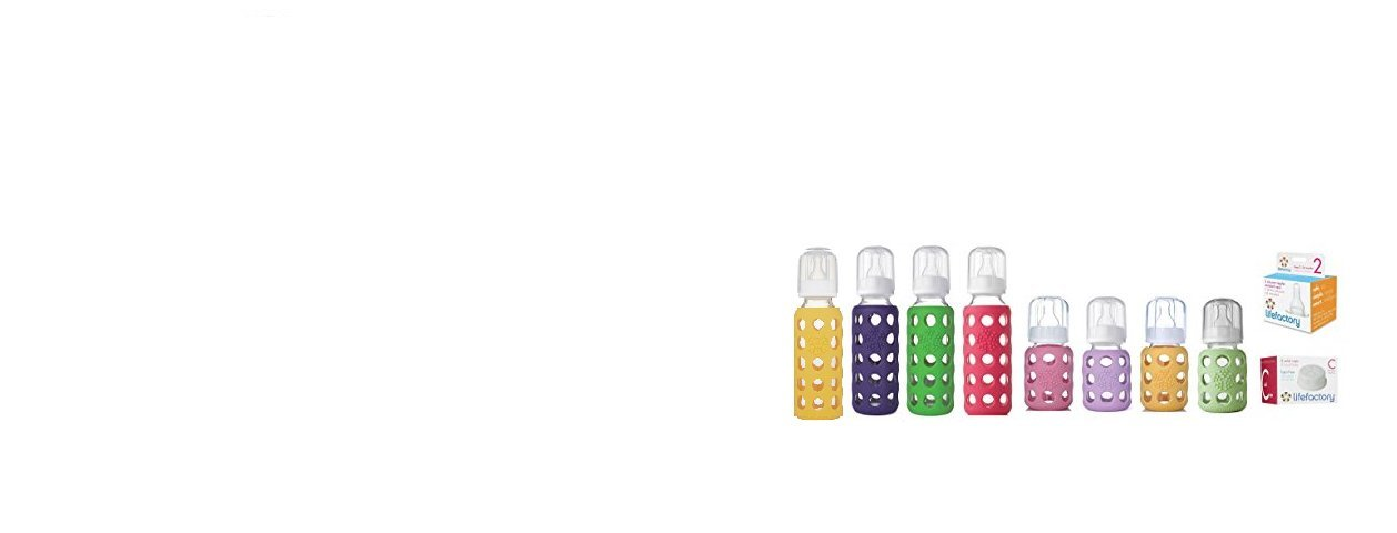 Lifefactory Glass Baby Bottles Combo Pack - 12 Piece Bottle Kit for Newborn to 6 Months (Girl Colors)