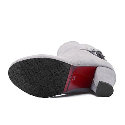 Rhinestones Frosted Metal Heels Buckles Ladies BalaMasa Chunky Studded Boots Gray Ttx0wU