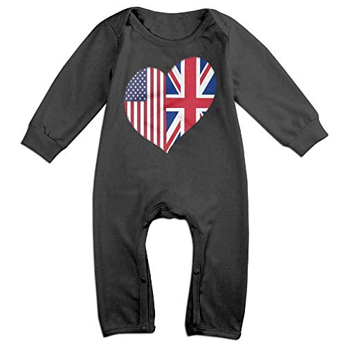 Price comparison product image PMsunglasses Heart British American Flag Long Sleeve Baby Bodysuit Bodysuit Black