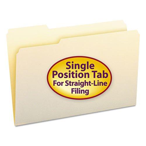 File Folders, 1/3 Cut First Position, One-Ply Top Tab, Legal, Manila, 100/Box