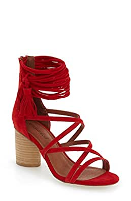Jeffrey Campbell Women's Despina Strappy Sandal Red Suede Block Heel (6.5)