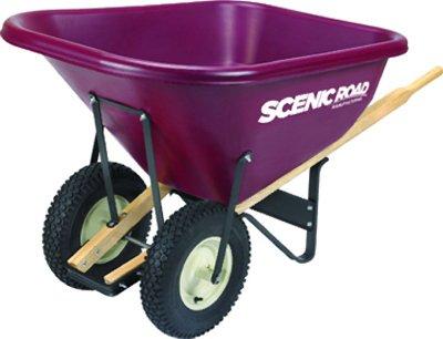 Scenic Road M10-2k Wheelbarrow W/ Dual 4 Ply Knobby Tires, 10 Cu.ft., - Cu Wheelbarrow 10 Ft