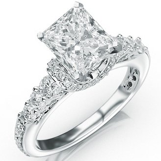 1.35 Carat Princess Cut Designer Four Prong Round Diamond Engagement Ring (D-F Color, VS2-SI1 Clarity Center Stone)
