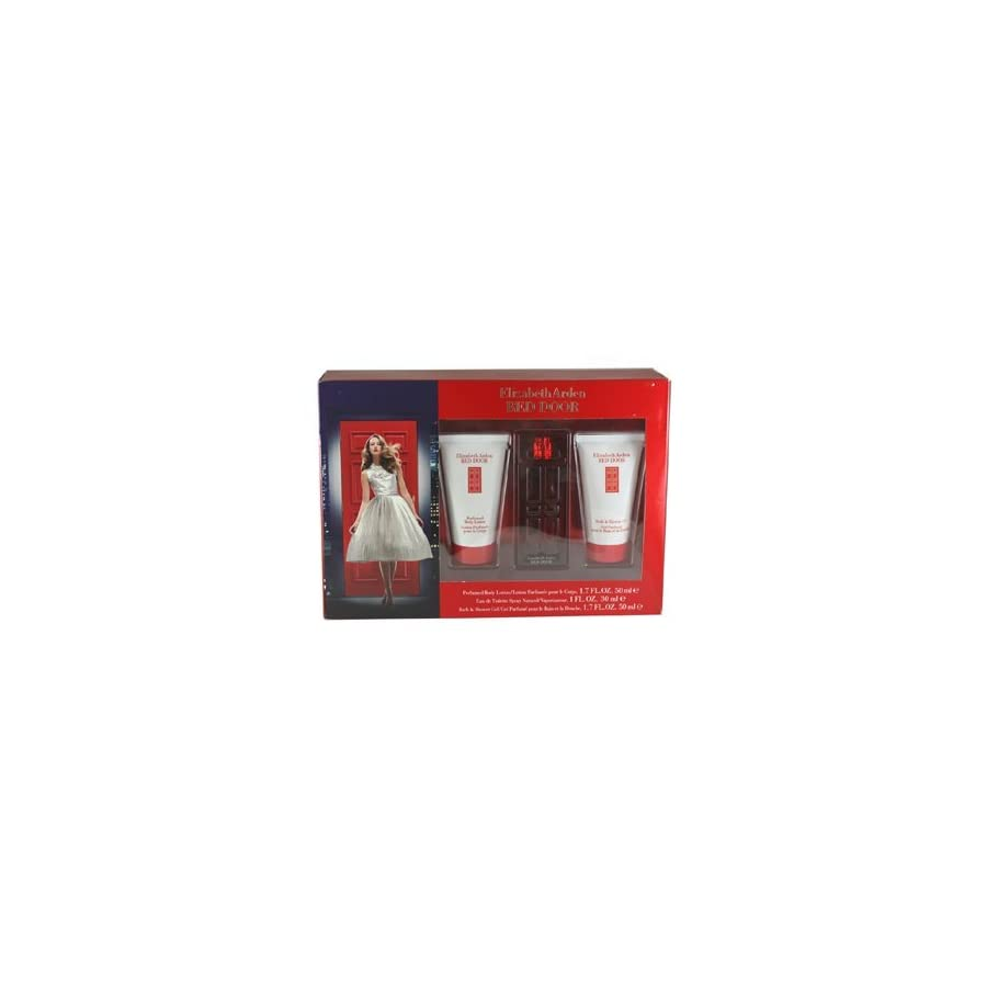 Elizabeth Arden Red Door 3 Piece Gift Set for Women with Eau De Toilette Spray, Perfumed Body Lotion and Shower Gel