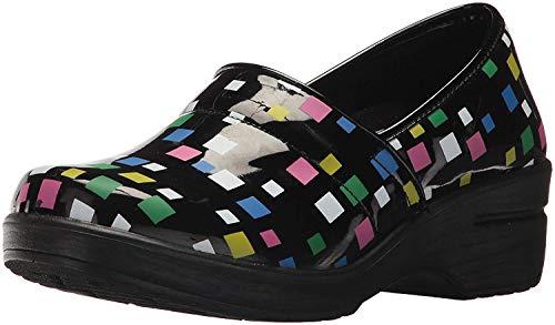 Easy Works Women's LYNDEE Health Care Professional Shoe Black MUL sq Print 8 2W US ()