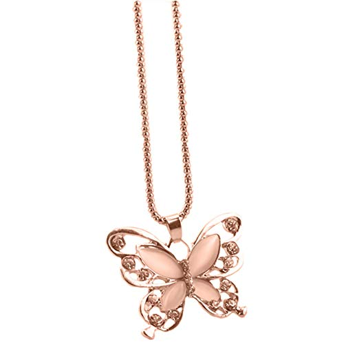lightclub Hollow Butterfly Opal Rhinestone Charm Sweater Chain Necklace Women Jewelry Gift - Rose Gold Elegant Necklace for Women