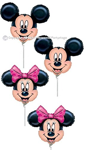 "10 DISNEY MICKEY AND MINNIE 12"" BIRTHDAY PARTY MINI SHAPE BALLOONS FAVORS DECORATIONS (5 OF EACH)"