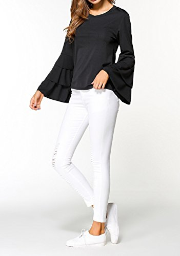 Tops Couleur Mode Slim Femmes Noir Hauts Chemisiers Automne Unie T Sleeve Rond Tee Sweat Shirts et Pulls Casual Blouse Printemps Col Shirts Flare zq6OSwU