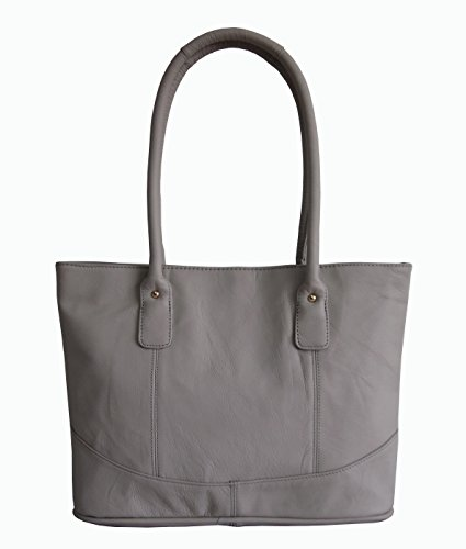 AmeriLeather Casual Leather Tote (Off White) ()