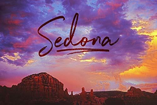 (Sedona, Arizona - Sunset and Red Rock Mountains 95165 (12x18 Art Print, Wall Decor Travel Poster))