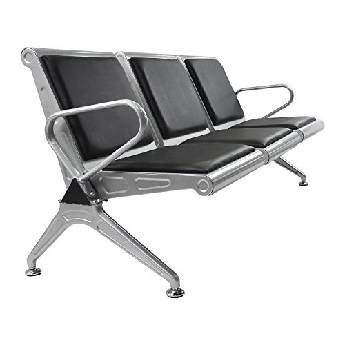 Sliverylake 3 Seat Airport Reception Waiting Chair Office Barber Salon Cushioned Bench (Chair Reception Seat)