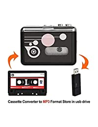 Reproductor de cassette portátil, grabadora de música de audio digital a convertidor de MP3, ahorra en unidad flash USB no requiere PC