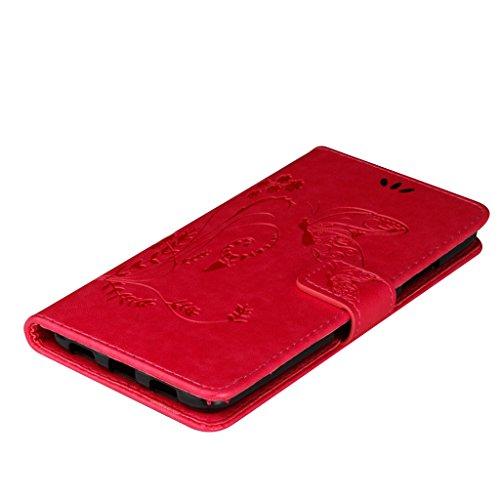 Erdong® Magnético Folio Flip Caso Con pata de cabra titular de la tarjeta Para Huawei Nova Plus (Nova+) 5.5, Elegant Simple Book-style [Rose flor de mariposa] patrón de impresión cuero del soporte Fo