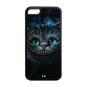 5C Case, iPhone 5C Case - Fashion Style New Alice in Wonderland Painted Pattern TPU Soft Cover Case for iPhone 5C (Black/white)
