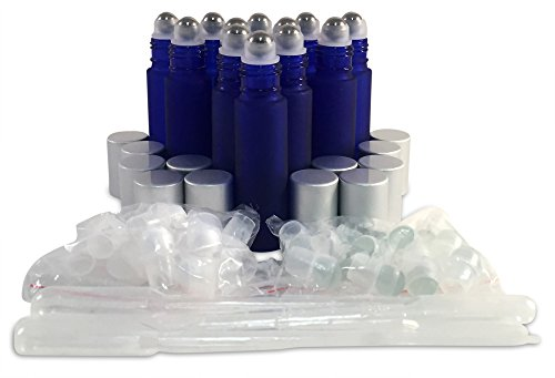 12 New, Premium Quality, 10ml Frosted Cobalt Blue Glass Roll-on Bottles with Stainless Steel Roller Balls, Glass Roller Balls, Plastic Roller Balls, Matte Aluminum Caps and (3) 3ml Plastic Droppers (Matte Roller Ball)