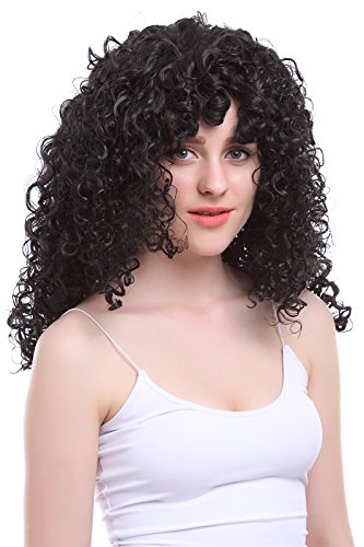 [Nuoqi Women's Short Black Afro Wigs Halloween Costume Hairs Wigs] (Wild Curl Black Wig)