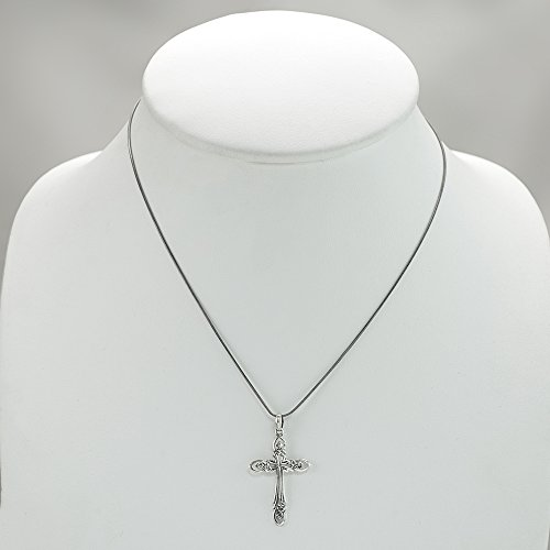 "925 Sterling Silver Celtic Antique Cross Pendant Necklace, 18"" Chain"