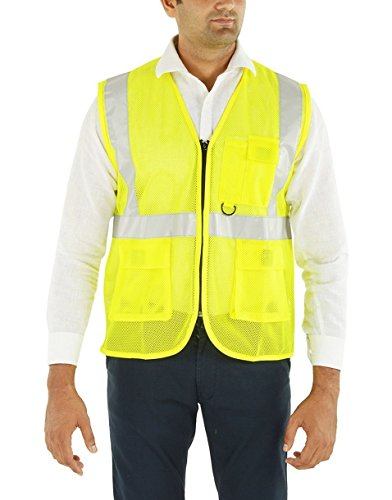 Club 21 Workwear Reflective Jacket or Vest Polyester with Reflective Strips or Tape: Yellow, Large Price & Reviews