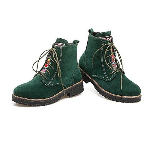 BalaMasa Womens Retro Slip-Resistant Solid Suede Boots ABL10205 Darkgreen P3fI3d7B