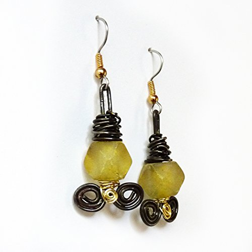 Black, Gold & Yellow Recycled Glass Dangle Drop Earrings - Rustic Wire Wrapped Dangles - Surgical Steel Ear Wires, Sensitive Ears, Hypoallergenic, Handmade Gift for Women, Birthday Gift, Mother's - And Round Brown Ebony