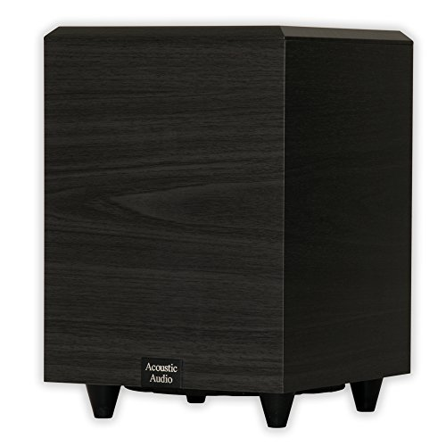 Acoustic Audio RWSUB-8 300 Watt 8-Inch Down Firing Powered Subwoofer (Black)