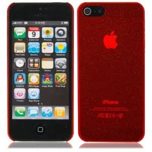 Glitter Powder Protective PC Hard Case Cover for iPhone 5 Red