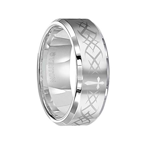 Triton Ring Beveled Edge White Tungsten Carbide Wedding Band with Laser Engraved Cross Pattern