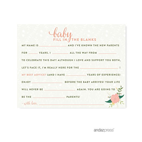Andaz Press Floral Roses Girl Baby Shower Collection, Games, Activities, Decorations, Baby Fill in the Blanks Cards, 20-pack
