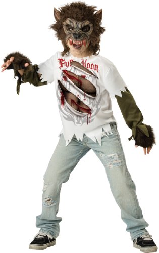 [InCharacter Costumes Boys Werewolf Mask and Shirt Costume, Multi Color, 8] (Wolf Halloween Costumes)