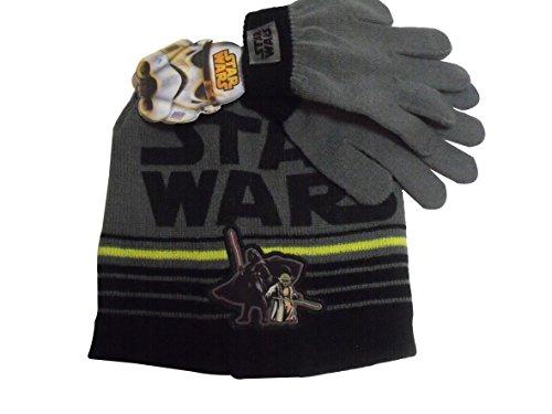 Star Wars Darth Vader Yoda Knit Winter Hat Gloves Set Black Grey (Vader Gloves)