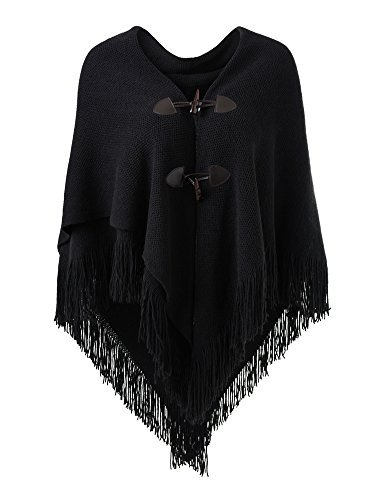 Ferand Women's Loose Fitting Poncho Cape Shawl with Stylish Horn Buttons, V Neckline and V Hem, ()