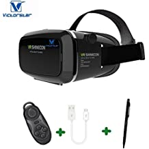 VICTORSTAR @ 3D VR Glasses + Rechargable Bluetooth Remote Controller, 3D VR Headset Virtual Reality Box with Adjustable Lens and Strap ,Suitable for 3.5-6.0 inch Smartphone for 3D Movies and Games
