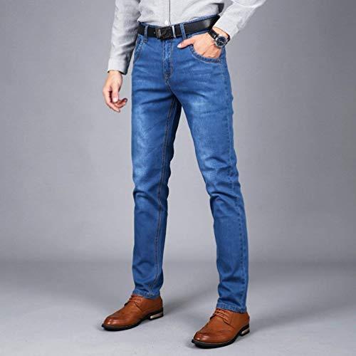Uomo Comodo Hellblau Dritti Moda Tempo Slim Il Fit Vintage Battercake Jeans Libero Pantaloni Stretch Denim Per zSZwtRW