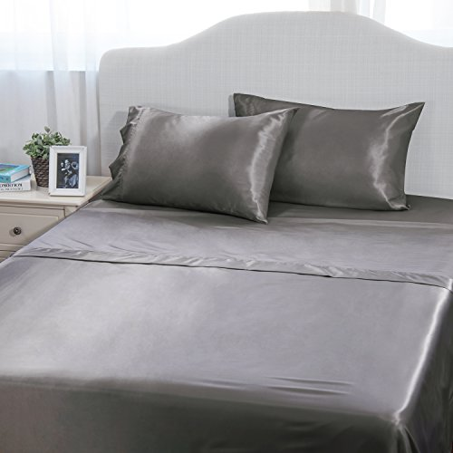 3-Piece Cool Satin Bed Sheet Set Twin Dark Gray Smooth and Silky with Deep Pocket Fitted sheet by - 3 Run 66