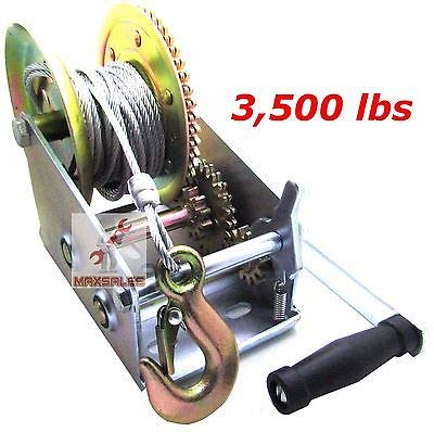 (KaleidoScope)3500lbs Dual Gear Hand Winch Hand Crank Manual Boat ATV RV Trailer 33ft Cable