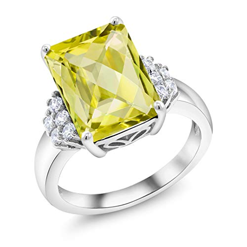Lemon Ring Silver Quartz Sterling - Gem Stone King 7.15 Ct Octagon Checkerboard Yellow Lemon Quartz 925 Sterling Silver Ring (Size 7)