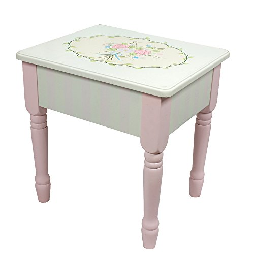 Fantasy Fields - Bouquet Thematic Kids Vanity Stool | Imagination Inspiring Hand Crafted & Hand Painted Details   Non-Toxic, Lead Free Water-based Paint (Teamson Painted Vanity)