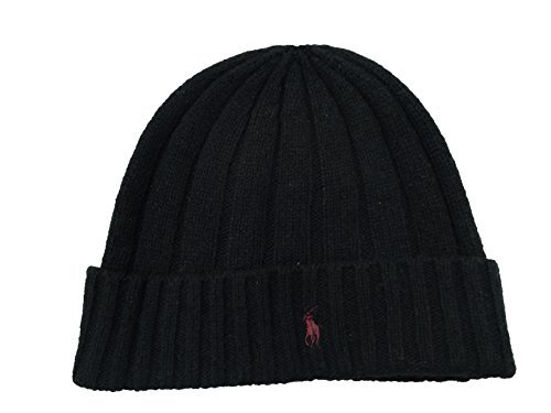 lph Lauren Wool Black Beanie Hat, Black (PP0054-002) / Bardo/Black, One Size Fits Most ()