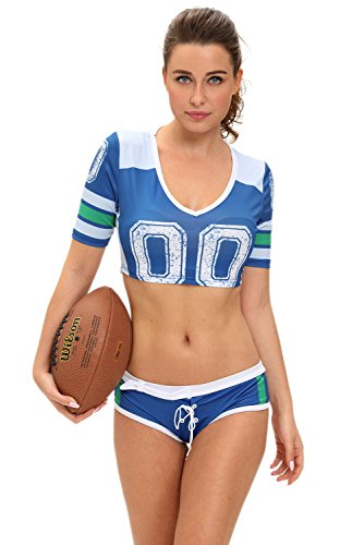 Blues Clues Costume For Adults - Dear-lover Sexy Football Crop Top & Shorts USA (M/L, Blue)