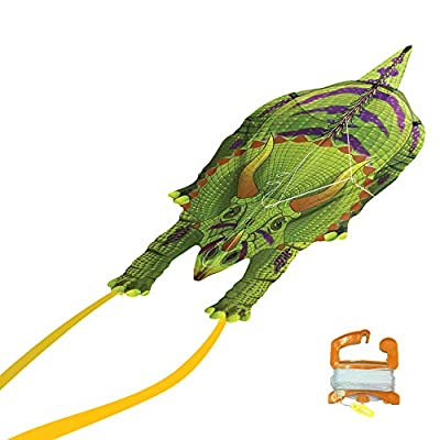 WindNSun DinoSoars Triceratops Rip-Stop Nylon Kite, 48 Inches Tall: Toys & Games