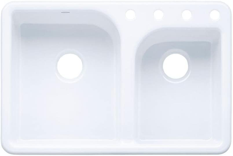 KOHLER K-5948-4-0 Efficiency Self-Rimming Kitchen Sink, White