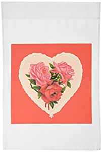 3dRose fl_8077_1 Vintage Heart with Red and Pink Roses Garden Flag, 12 by 18-Inch