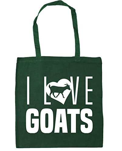 Shopping Bottle x38cm I 10 Gym Tote Green 42cm Beach HippoWarehouse litres Goats Love Bag zTxIdzna