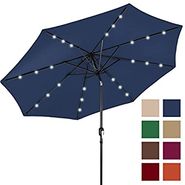 Best Choice Products 10' Deluxe Solar LED Lighted Patio Umbrella w/ Tilt Adjustment (Navy Blue)