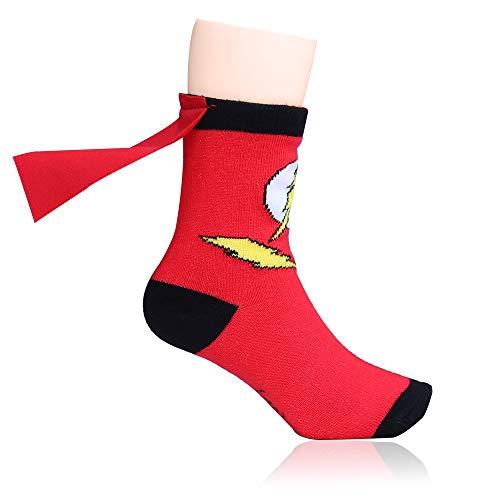 Lintat Superhero Batman Superman The Flash Youth Boys Caped Crew Socks (The Flash