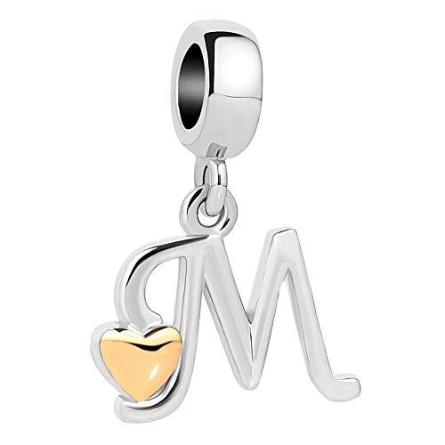 DemiJewelry Letter Alphabet Charms Dangle Heart Charm Beads for Snake (Heart Charm Bead Bracelet)