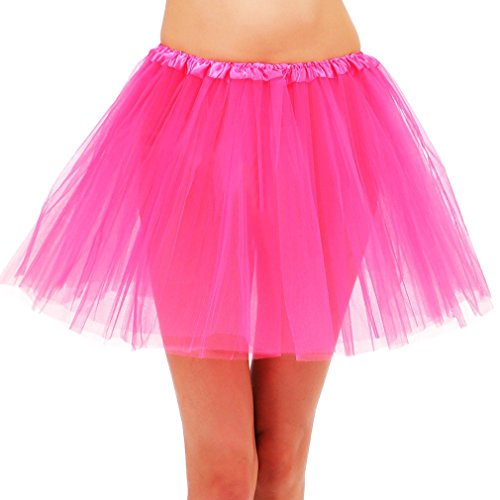 (Women's Ballet Warrior 5K, 10K Fun Dash Run Adult Tutu Dress Up Costume,Hot Pink)