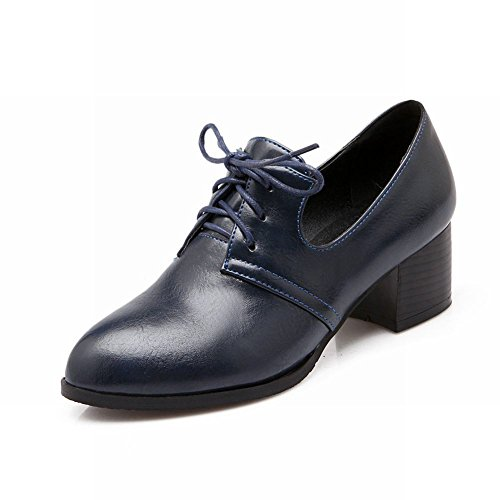 Vintage Heel up Fashion Retro Lace Pointed Women's Chunky Blue Mid Shoes Carolbar Toe Oxfords awYqgWv