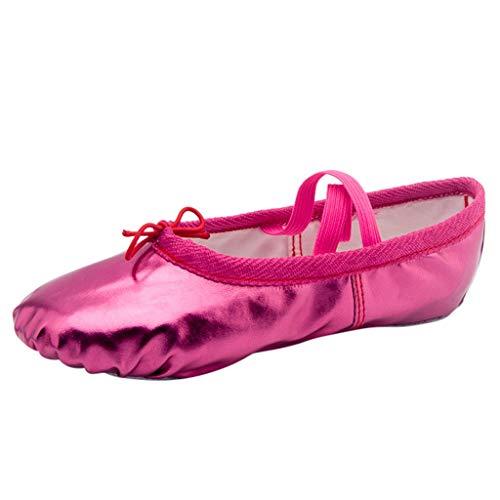 (〓COOlCCI〓Women Ballet & Dance Shoes,Dance Shoe Ballet Pointe Slippers Ballet Flats Shoes with Ribbons Toe Pads Yoga Shoes Hot Pink)
